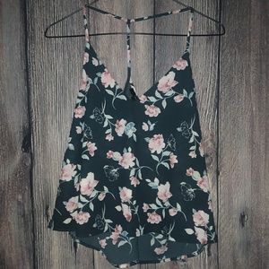Forever 21 Cropped Flowy Floral Tank Top Blouse